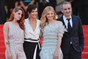 (L-R) Actress Kristen Stewart, actress Juliette Binoche, actress Chloe Grace Moretz and director Olivier Assayas attend the 'Clouds Of Sils Maria' premiere during the 67th Annual Cannes Film Festival on May 23, 2014 in Cannes, France.