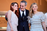 "(L-R) Actress Kristen Stewart, director Olivier Assayas and actress Chloe Grace Moretz and attend the ""Clouds Of Sils Maria"" premiere during the 67th Annual Cannes Film Festival on May 23, 2014 in Cannes, France."