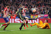 Giorgio Chiellini of Juventus clears the ball during the UEFA Champions League Round of 16 First Leg match between Club Atletico de Madrid and Juventus at Estadio Wanda Metropolitano on February 20, 2019 in Madrid, Spain.
