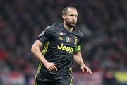 Giorgio Chiellini of Juventus runs with the ball during the UEFA Champions League Round of 16 First Leg match between Club Atletico de Madrid and Juventus at Estadio Wanda Metropolitano on February 20, 2019 in Madrid, Spain.