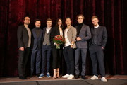 """(2L-R) Ivo Kortlang, Nick Julius Schuck, Luise Befort, Tim Oliver Schultz, Damian Hardung and Timur Bartels attend the premiere of the film """"Club der Roten Baender - Wie alles begann"""" at Zoo Palast on February 05, 2019 in Berlin, Germany."""