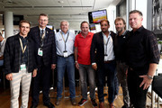 "(L-R) Philipp Lahm, amabassador of ""United for Football"" application for Euro 2024, Reinhard Grindel, DFB president, Hannes Bongartz, Uwe Bein, Thomas Kroth, Wolfgang Rolff and Knut Reinhardt pose during the Club Of Former National Players Meeting at BayArena on June 8, 2018 in Leverkusen, Germany."