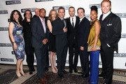 """(L-R) Annie Parisse, Pam MacKinnon, Frank Wood, Damon Gupton, Christina Kirk, Bruce Norris, Jordan Roth, Jeremy Shamos, Crystal A. Dickinson and Brendan Griffin attend the after party for the """"Clybourne Park"""" Broadway opening night at Gotham Hall on April 19, 2012 in New York City."""