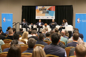 Clyde Drexler Cisco's Chintan Patel, ESPN's Sage Steele, The NBA's Mark Tatum And Basketball Hall Of Famer Clyde Drexler At SXSW