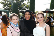 (L-R) Joey King, Ibtihaj Muhammad, and Hunter King attend GOLD MEETS GOLDEN 2020, presented by Coca-Cola, BMW Beverly Hills And FASHWIRE, and hosted by Nicole Kidman and Nadia Comaneci, At The Virginia Robinson Gardens And Estate on January 04, 2020 in Beverly Hills, California.