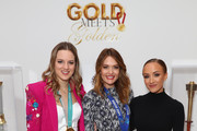 """(L-R) Cassie Sharpe, Amy Purdy and Nastia Liukin attend The 6th Annual """"Gold Meets Golden"""" Brunch, hosted by Nicole Kidman and Nadia Comaneci and presented by Coca-Cola at The House on Sunset on January 5, 2019 in West Hollywood, California."""