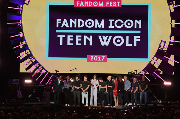 MTV Fandom Fest Performances [stage,display device,performance,event,talent show,font,technology,electronic device,convention,stage equipment,jeff davis,cody christian,tyler posey,dylan obrien,melissa ponzio,colton haynes,khylin rhambo,l-r,mtv,fandom fest performances]