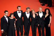 "Producer Ewa Puszczynska, actor Tomasz Kot, director Pawel Pawlikowski, actress Joanna Kulig, actor Borys Szyc, producer Tanya Seghatchian and guest (L) attend the screening of ""Cold War (Zimna Wojna)"" during the 71st annual Cannes Film Festival at Palais des Festivals on May 10, 2018 in Cannes, France."