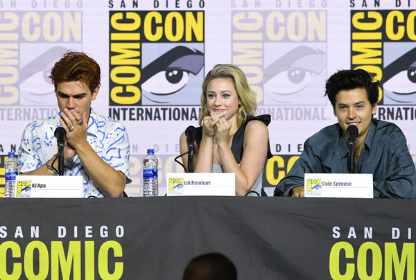 2019 Comic-Con International - 'Riverdale' Special Video Presentation And Q/A [comics,publication,fiction,media,event,news conference,world,fictional character,costume,cole sprouse,kj apa,lili reinhart,q a,special video presentation,riverdale,san diego convention center,california,comic-con international,riverdale special video presentation]