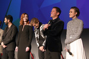 "(L-R) Ray Panthaki, Eleanor Tomlinson, Denise Gough, Dominic West and Keira Knightley on stage at the UK Premiere of ""Colette"" and BFI Patrons gala during the 62nd BFI London Film Festival on October 11, 2018 in London, England."