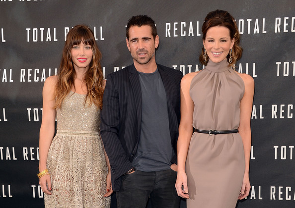 """Photo Call For Columbia Pictures' """"Total Recall"""" [total recall,premiere,dress,fashion,event,carpet,little black dress,cocktail dress,fashion model,flooring,style,actors,kate beckinsale,jessica biel,colin farrell,photo call,l-r,four seasons hotel,los angeles,columbia pictures]"""