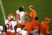 Trevor Lawrence #16 of the Clemson Tigers celebrates with head coach Dabo Swinney against the Alabama Crimson Tide during the fourth quarter in the College Football Playoff National Championship at Levi's Stadium on January 07, 2019 in Santa Clara, California.