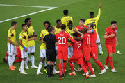 England and Colombia players clash during the 2018 FIFA World Cup Russia Round of 16 match between Colombia and England at Spartak Stadium on July 3, 2018 in Moscow, Russia.