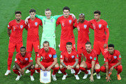 The England players line up prior to the 2018 FIFA World Cup Russia Round of 16 match between Colombia and England at Spartak Stadium on July 3, 2018 in Moscow, Russia.