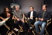 """(L-R) TV Personality Camille Ford, director Jeff Renfroe, actor Kevin Zegers, and actor Bill Paxton attend """"The Colony"""" at The Movies On Demand Lounge during Comic-Con International 2013 at Hard Rock Hotel San Diego on July 19, 2013 in San Diego, California."""