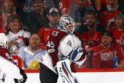 Jonathan Bernier #45 of the Colorado Avalanche tends net against the New Jersey Devils at the Prudential Center on October 7, 2017 in Newark, New Jersey. The Devils defeated the Avalanche 4-1.