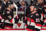 Chris Neil #25 of the Ottawa Senators celebrates his third period goal against the Colorado Avalanche with team mate Shane Prince #10 during an NHL game at Canadian Tire Centre on February 11, 2016 in Ottawa, Ontario, Canada.