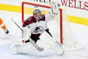 Semyon Varlamov #1 of the Colorado Avalanche makes a save against the Philadelphia Flyers during the second period at Wells Fargo Center on October 22, 2018 in Philadelphia, Pennsylvania.