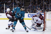Jonathan Bernier #45 of the Colorado Avalanche makes a save on a shot taken by Timo Meier #28 of the San Jose Sharks at SAP Center on April 5, 2018 in San Jose, California.