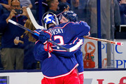 Sergei Bobrovsky #72 of the Columbus Blue Jackets and Nick Foligno #71 congratulate each other after defeating the Colorado Avalanche 5-2 on October 9, 2018 at Nationwide Arena in Columbus, Ohio.