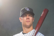 Justin Morneau #33 of the Colorado Rockies poses for a portrait at the Salt River Fields at Talking Stick on February 26, 2014 in Goodyear, Arizona.