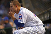 Anthony Rizzo #44 of the Chicago Cubs watches from the dugout as his teammates take on the Colorado Rockies at Wrigley Field on April 30, 2018 in Chicago, Illinois. The Cubs defeated the Rockies 3-2.