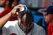 Ryan Howard #6 of the Philadelphia Phillies pours water on his head in the dugout during the game against the Colorado Rockies at Citizens Bank Park on August 14, 2016 in Philadelphia, Pennsylvania.