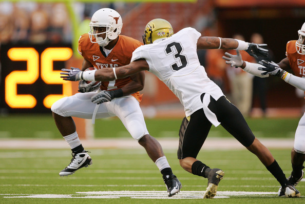 Jimmy Smith Wide receiver John Chiles #7 of the Texas Longhorns makes a quick cut after catching a pass against cornerback Jimmy Smith #3 of the Colorado Buffaloes in the first quarter on October 10, 2009 at Darrell K Royal-Texas Memorial Stadium in Austin, Texas.