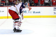 Sergei Bobrovsky #72 of the Columbus Blue Jackets looks on after giving up a second period goal against the Washington Capitals during Game Five of the Eastern Conference First Round during the 2018 NHL Stanley Cup Playoffs at Capital One Arena on April 21, 2018 in Washington, DC.