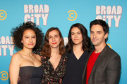 (L-R) Ilana Glazer, Lucia Aniello, Abbi Jacobson and Paul W. Downs attend Comedy Central's 'Broad City' season five premiere party at Stage 48 on January 22, 2019 in New York City.