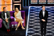 (L-R)  Blake Griffin, Nikki Glaser and Sean Hayes react onstage during the Comedy Central Roast of Alec Baldwin at Saban Theatre on September 07, 2019 in Beverly Hills, California.