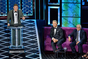 (L-R) Blake Griffin, Alec Baldwin and Robert De Niro react onstage during the Comedy Central Roast of Alec Baldwin at Saban Theatre on September 07, 2019 in Beverly Hills, California.