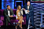 (L-R) Blake Griffin, Nikki Glaser and Jeff Ross react onstage during the Comedy Central Roast of Alec Baldwin at Saban Theatre on September 07, 2019 in Beverly Hills, California.