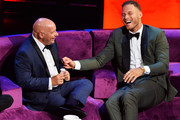 Jeff Ross (L) and Blake Griffin react onstage during the Comedy Central Roast of Alec Baldwin at Saban Theatre on September 07, 2019 in Beverly Hills, California.