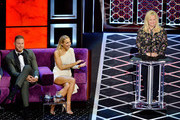 (L-R) Blake Griffin, Nikki Glaser and Caroline Rhea react onstage during the Comedy Central Roast of Alec Baldwin at Saban Theatre on September 07, 2019 in Beverly Hills, California.