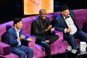 (L-R) Ken Jeong, Chris Redd and Jeff Ross react onstage during the Comedy Central Roast of Alec Baldwin at Saban Theatre on September 07, 2019 in Beverly Hills, California.