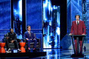 (L-R) Rapper Snoop Dogg, honoree Justin Bieber and actor Will Ferrell (as Ron Burgundy) onstage at The Comedy Central Roast of Justin Bieber at Sony Pictures Studios on March 14, 2015 in Los Angeles, California. The Comedy Central Roast of Justin Bieber will air on March 30, 2015 at 10:00 p.m. ET/PT.