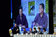 "(L-R) Moderator Damian Holbrook, actor Seth Meyers, Co-Creator/Writer/Executive Producer Michael Shoemaker, actor Taran Killam, actor Josh Meyers, and Head Writer Dan Mintz speak on the panel for Hulu's Original ""The Awesomes"" during Comic-Con for ""The Awesomes"" on July 26, 2014 in San Diego, California."