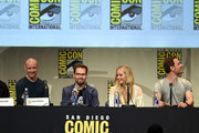 "(L-R) Actor James McAvoy, director Bryan Singer, actress Jennifer Lawrence and actor Michael Fassbender from ""X-Men: Apocalypse"" speak onstage at the 20th Century FOX panel during Comic-Con International 2015 at the San Diego Convention Center on July 11, 2015 in San Diego, California."