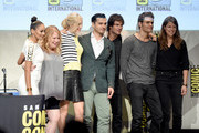 """(L-R) Actress Kat Graham, producer Julie Plec, actress Candice Accola, actor Michael Malarkey, actor Ian Somerhalder, actor Paul Wesley and producer Caroline Dries attend the """"The Vampire Diaries"""" panel during Comic-Con International 2015 at the San Diego Convention Center on July 12, 2015 in San Diego, California."""