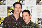 """Actors Cory Michael Smith (L) and Robin Lord Taylor attend """"Gotham"""" Press Line during Comic-Con International 2016 at Hilton Bayfront on July 23, 2016 in San Diego, California."""