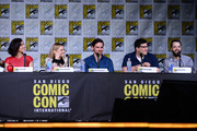 "(L-R) Actors Lana Parrilla, Jennifer Morrison and Colin O'Donoghue, writer/producers Adam Horowitz and Edward Kitsis attend the ""Once Upon A Time"" panel during Comic-Con International 2016 at San Diego Convention Center on July 23, 2016 in San Diego, California."