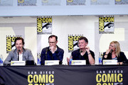 """(L-R) Actor Benedict Cumberbatch, actor/writer/producer Mark Gatiss, writer/producer Steven Moffat, and producer Sue Vertue attend the """"Sherlock"""" panel during Comic-Con International 2016 at San Diego Convention Center on July 24, 2016 in San Diego, California."""