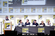 """(L-R) Moderator Chris Hardwick, actor Benedict Cumberbatch, actor/writer/producer Mark Gatiss, writer/producer Steven Moffat, producer Sue Vertue, and actress Amanda Abbington attend the """"Sherlock"""" panel during Comic-Con International 2016 at San Diego Convention Center on July 24, 2016 in San Diego, California."""