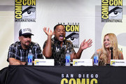 (L-R) Director David Ayer, actors Will Smith and Margot Robbie attend the Warner Bros. Presentation during Comic-Con International 2016 at San Diego Convention Center on July 23, 2016 in San Diego, California.