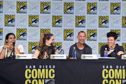 """(L-R) Actors Carlos Valdes, Danielle Panabaker, Tom Cavanagh and Grant Gustin attend the """"The Flash"""" Video Presentation And Q+A  during Comic-Con International 2017 at San Diego Convention Center on July 22, 2017 in San Diego, California."""
