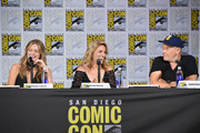 """(L-R) Actors Maggie Lawson, Kirsten Nelson and Corbin Bernsen speak onstage at the """"Psych"""" reunion and movie sneak peek during Comic-Con International 2017 at San Diego Convention Center on July 21, 2017 in San Diego, California."""