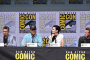 """(L-R) Writer/producer Steven Kane, actors Adam Baldwin, Bridget Regan and Eric Dane at TNT's """"The Last Ship"""" with Eric Dane: panel and exclusive sneak peek for season 4 during Comic-Con International 2017 at San Diego Convention Center on July 23, 2017 in San Diego, California."""