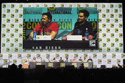 """(L-R) Actors Melissa Ponzio, Charlie Carver, Cody Christian, Shelley Hennig, Dylan O'Brien, and Tyler Posey, executive producer Jeff Davis, actors Dylan Sprayberry, Khylin Rhambo and Linden Ashby speak onstage at the """"Teen Wolf"""" panel during Comic-Con International 2017 at San Diego Convention Center on July 20, 2017 in San Diego, California."""