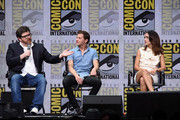 (L-R) Writer Ernest Cline, actors Tye Sheridan and Olivia Cooke attend the Warner Bros. Pictures Presentation during Comic-Con International 2017 at San Diego Convention Center on July 22, 2017 in San Diego, California.